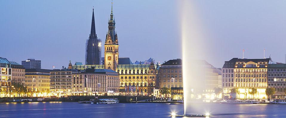 Hamburg city skyline at dusk
